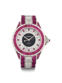 Chanel. A Rare 18k White Gold and Ceramic Limited Edition Automatic Wristwatch Set with Diamonds and Rubies